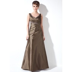 A-Line/Princess V-neck Floor-Length Taffeta Mother of the Bride Dress With Ruffle Beading Sequins
