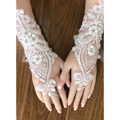 Lace Wrist Length Bridal Gloves With Embroidery/Lace Flower (014226028)