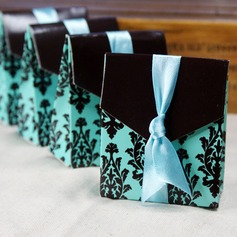 Turquoise And Brown Flourish Favor Boxes With Ribbons