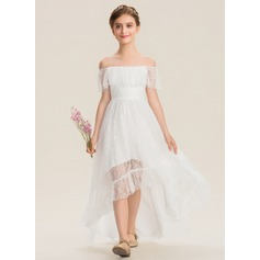 A-Line Off-the-Shoulder Asymmetrical Lace Junior Bridesmaid Dress