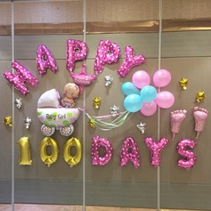 "16inch Baby Girl ""Happy 100day"" Balloons Set (Set of 16) Gifts"