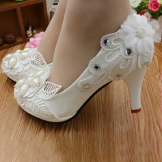 Women's Lace Leatherette Stiletto Heel Closed Toe With Imitation Pearl Rhinestone Applique