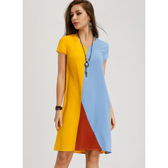 Color Block Shift Short Sleeves Midi Casual T-shirt Dresses (294252050)