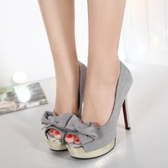 Women's Leatherette Stiletto Heel Pumps Platform Peep Toe With Bowknot shoes
