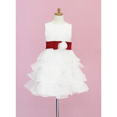 A-Line/Princess Knee-length Flower Girl Dress - Organza/Satin Sleeveless Scoop Neck With Sash/Flower(s)/Bow(s)
