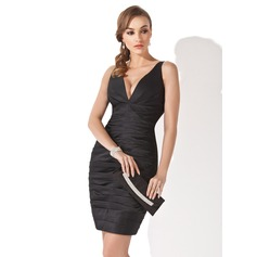 Sheath/Column V-neck Short/Mini Satin Cocktail Dress With Ruffle