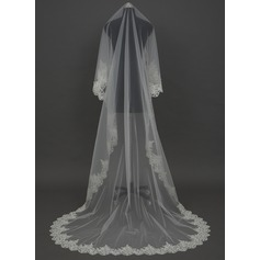 One-tier Cathedral Bridal Veils With Lace Applique Edge (006034457)