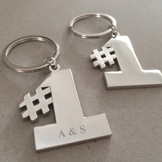 Personalized Number Stainless Steel/Zinc Alloy Keychains (Set of 4)