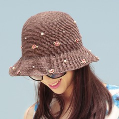 Ladies' Fashion/Special Raffia Straw With Flower Straw Hat