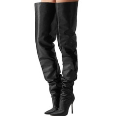 Women's PVC Stiletto Heel Pumps Knee High Boots shoes
