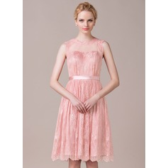 A-Line Illusion Knee-length Charmeuse Lace Bridesmaid Dress