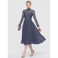 A-Line High Neck Tea-Length Chiffon Cocktail Dress (016189315)
