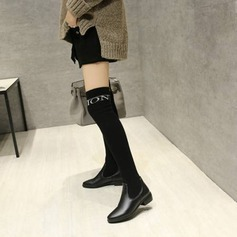 Women's PU Flat Heel Flats Knee High Boots With Elastic Band shoes