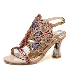 Women's Sparkling Glitter Stiletto Heel Sandals Pumps Peep Toe With Rhinestone Buckle shoes