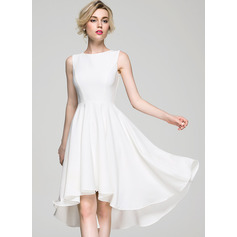 A-Line Scoop Neck Asymmetrical Stretch Crepe Cocktail Dress (016081196)