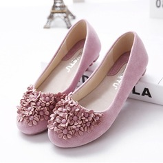 Women's Suede Flat Heel Flats Closed Toe With Rhinestone Satin Flower shoes