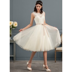 A-Line Illusion Knee-Length Tulle Wedding Dress With Beading Sequins Bow(s)