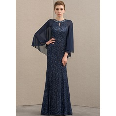 Trumpet/Mermaid Scoop Neck Floor-Length Chiffon Lace Evening Dress With Beading Sequins