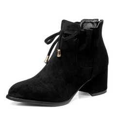 Women's Suede Chunky Heel Pumps Boots Martin Boots With Lace-up shoes