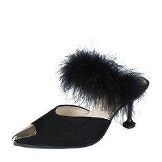 Women's Suede Stiletto Heel Pumps Closed Toe Slingbacks With Fur shoes