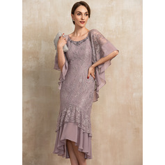 Trumpet/Mermaid Scoop Neck Asymmetrical Chiffon Lace Mother of the Bride Dress With Beading Sequins