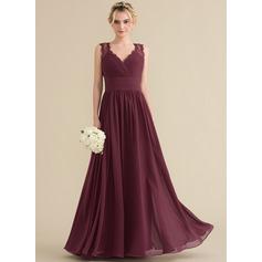 A-Line/Princess V-neck Floor-Length Chiffon Lace Bridesmaid Dress With Ruffle Bow(s) (007131063)