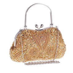 Elegant Sequin/Alloy Wristlets/Top Handle