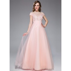 A-Line/Princess Off-the-Shoulder Floor-Length Tulle Lace Prom Dress With Beading Flower(s) Sequins
