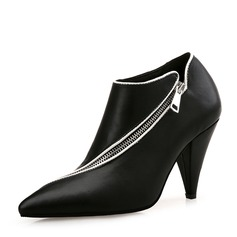 Women's PU Cone Heel Pumps Closed Toe Ankle Boots With Zipper shoes