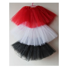 Girls Tulle Netting/Satin Short-length 2 Tiers Bustle