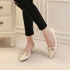 Women's Patent Leather Stiletto Heel Closed Toe With Bowknot shoes