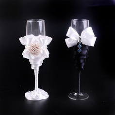 Elegant Toasting Flutes With Ribbon Bow/Faux Pearl (Set Of 2)