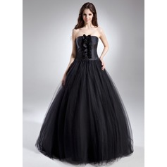 Ball-Gown Strapless Floor-Length Tulle Quinceanera Dress With Ruffle