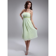 Empire Strapless Knee-Length Chiffon Maternity Bridesmaid Dress With Ruffle Beading Sequins (045022463)