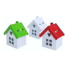 Cute House Shaped Metal Favor Boxes (Sold in a single piece)