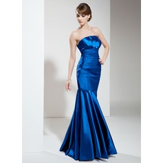Trumpet/Mermaid Scalloped Neck Floor-Length Charmeuse Evening Dress With Ruffle (017002646)