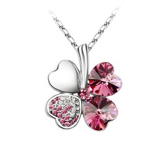 Clover Alloy Crystal Ladies' Fashion Necklace