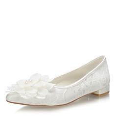 Women's Lace Fabric Flat Heel Closed Toe Flats With Flower