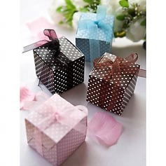 Cubic Card Paper Favor Boxes With Ribbons (Set of 12)