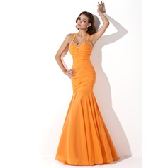Trumpet/Mermaid Halter Floor-Length Chiffon Evening Dress With Ruffle Beading Sequins