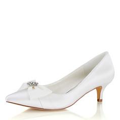 Women's Silk Like Satin Chunky Heel Closed Toe Pumps With Crystal