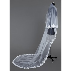 One-tier Cathedral Bridal Veils With Lace Applique Edge (006031066)