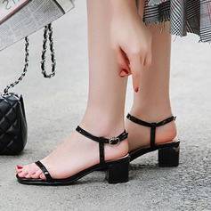 Women's Patent Leather Chunky Heel Sandals Peep Toe Slingbacks With Buckle shoes