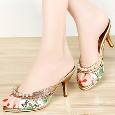 Women's Leatherette Chunky Heel Peep Toe Sandals Slingbacks With Beading