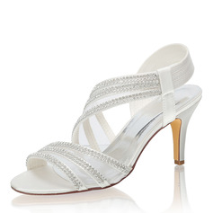 Women's Silk Like Satin Stiletto Heel Peep Toe Sandals With Crystal (047217391)