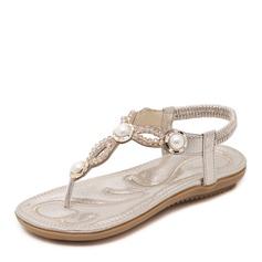 Женщины кожа Плоский каблук Сандалии Открытый мыс Босоножки с горный хрусталь Имитация Перл Эластичная лента обувь