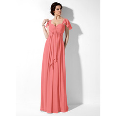 Empire Sweetheart Floor-Length Chiffon Bridesmaid Dress With Cascading Ruffles (007000828)