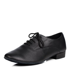 Men's Real Leather Flats Latin Ballroom Practice Character Shoes With Lace-up Dance Shoes
