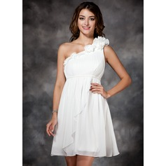 Empire One-Shoulder Short/Mini Chiffon Prom Dress With Ruffle Flower(s)