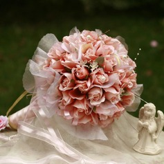 Girly de Rond Satin Bouquets de Mariée